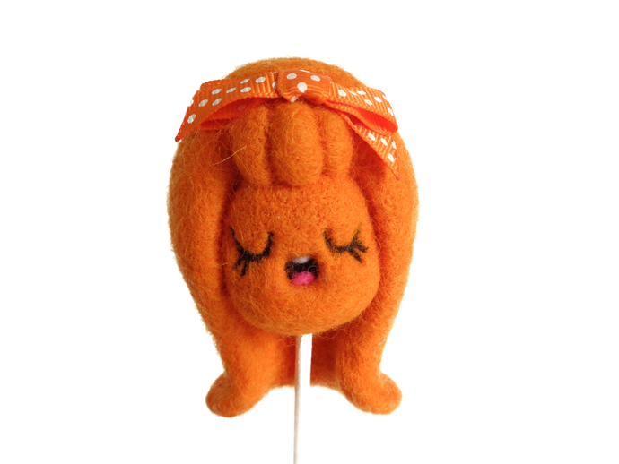 Lollie Orange, lollipop girl, needle felted Art Toy, collectible art doll