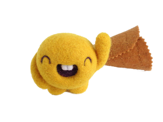 Scoopsie Mango, a friendly ice cream scoop , felt wool plush Art Toy,