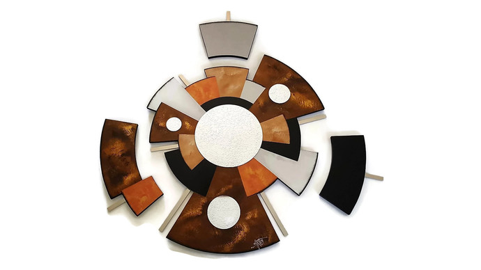 Geometric Mid Century look, Large 4 piece ZEN Abstract Mirror Wall Hanging,
