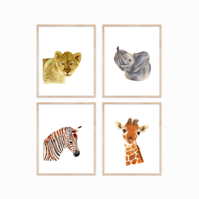 Safari Animals Set of 4 Prints