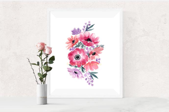 Anemone Flowers Print, Watercolour Flowers, Flower Bouquet Art, Anniversary