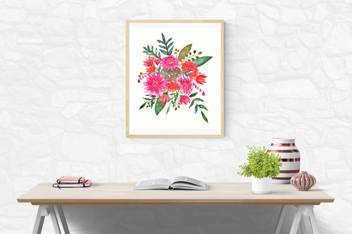 Country Bouquet Print, Watercolour Flowers, Flower Bouquet Art, Art for Home,