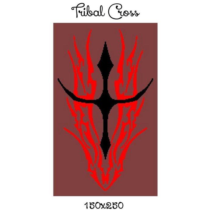 Tribal Cross Crochet Graph Pattern 150x250