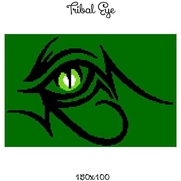 Tribal Eye Crochet Graph Pattern 150x100