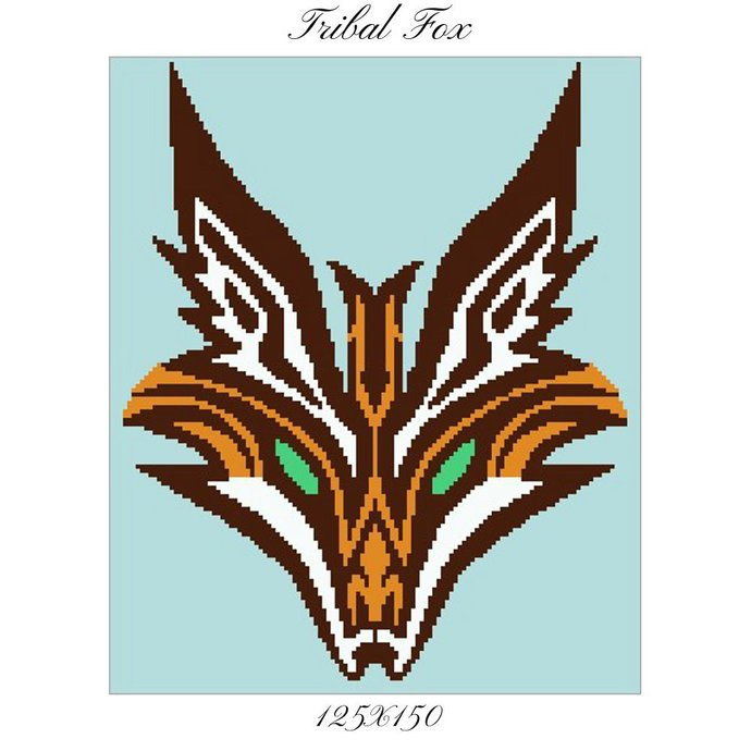 Tribal Fox Crochet Graph Pattern 125x150