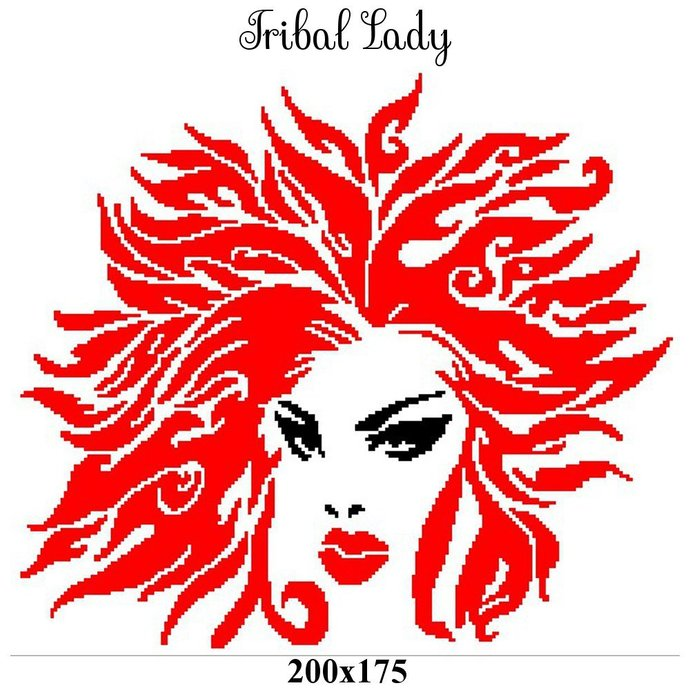 Tribal Lady Crochet Graph Pattern 200x175