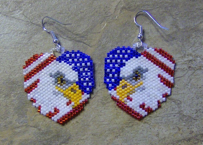 National Heart Earrings Hand Made Seed Beaded Bead Work