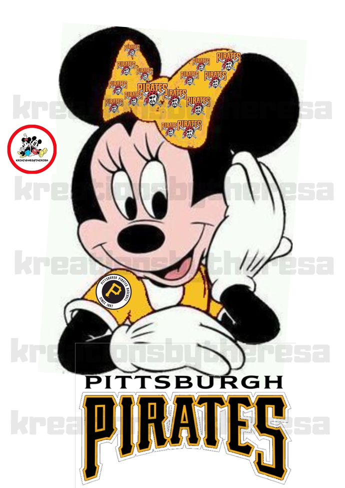Minnie Pittsburgh Pirates Baseball Inspired Iron On Transfer