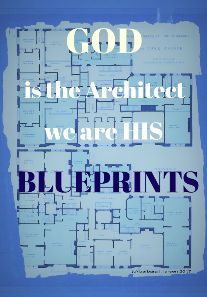 God is the Architect blue and white print.  Blueprint wall decor, blue text art,