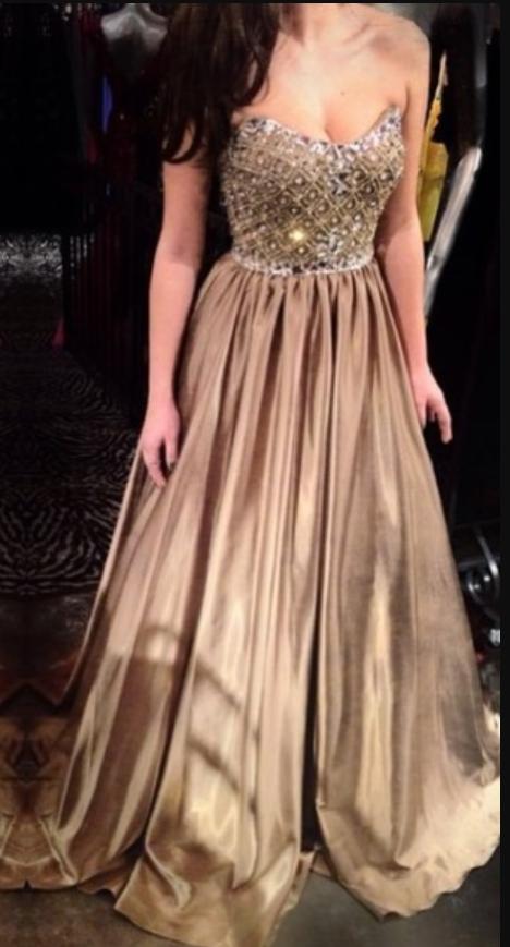 Sexy Champagne Beaded Evening Dress, Sexy Long Prom Dress, Dance Dress