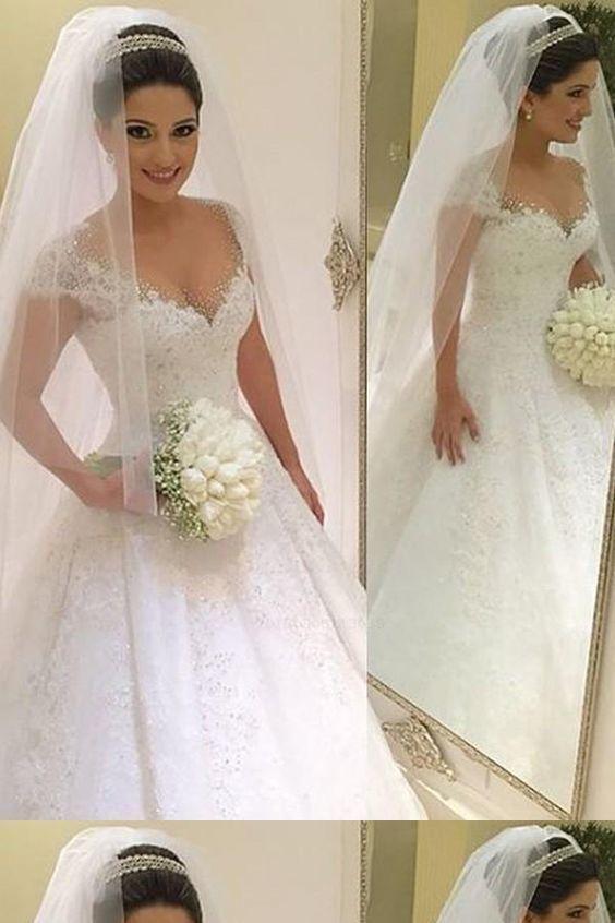 2019 Cap Sleeve White Appliques Wedding Dress, Sexy Bridal Gowns Vestido de