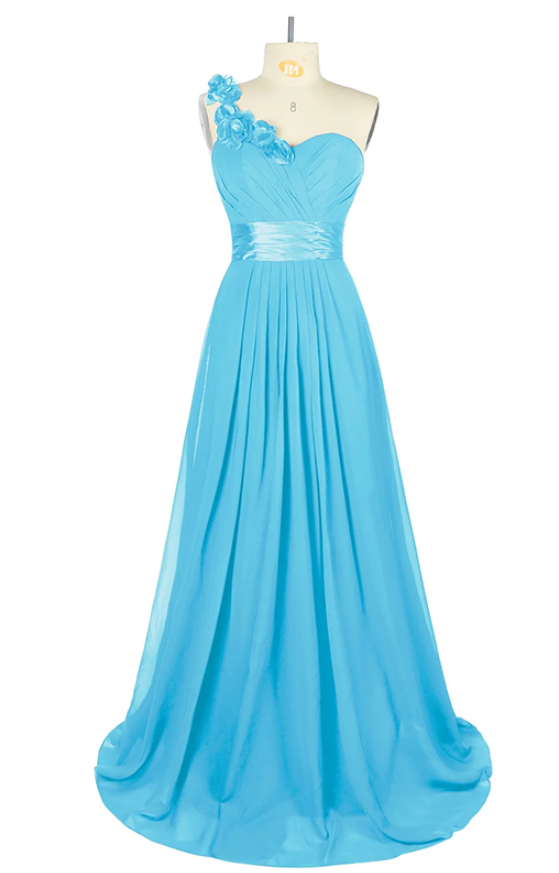 One Shoulder Blue Long Prom Dress, Lace up Prom Dresses with Flower, Sexy