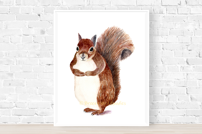Bushy Tail Squirrel Print, Watercolor Squirrel, Woodland Nursery Print, Squirrel