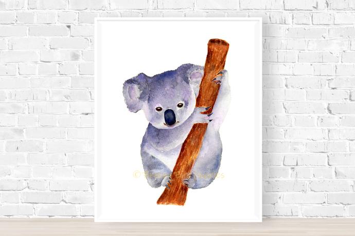 Morning Koala Print, Watercolour Koala, Cute Koala Art, Marsupial Animal
