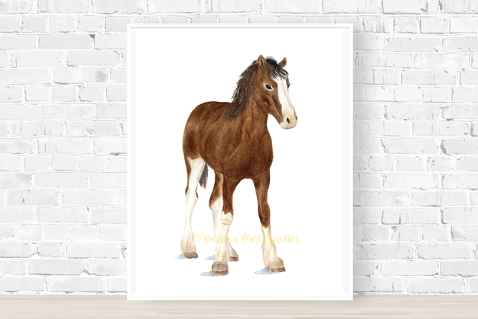Clydesdale Foal Print, Watercolor Baby Horse, Farm Animal Print, Nursery Animal,