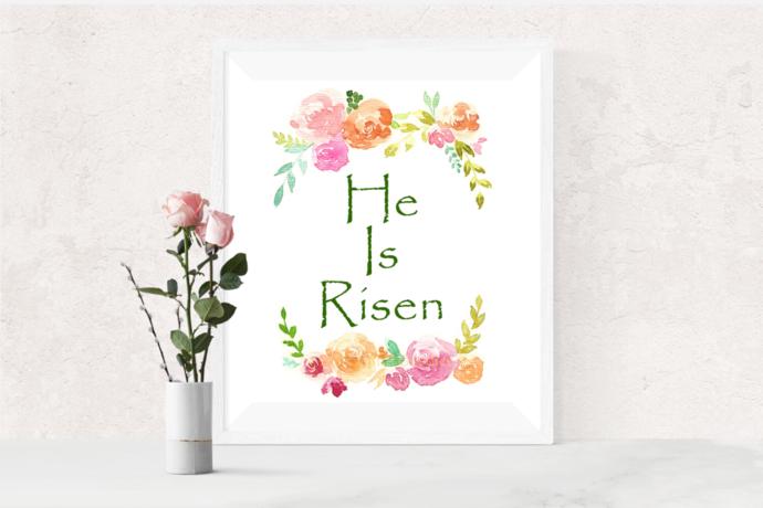 Inspirational Scripture Art Print, Watercolour Painting, He Is Risen Print,