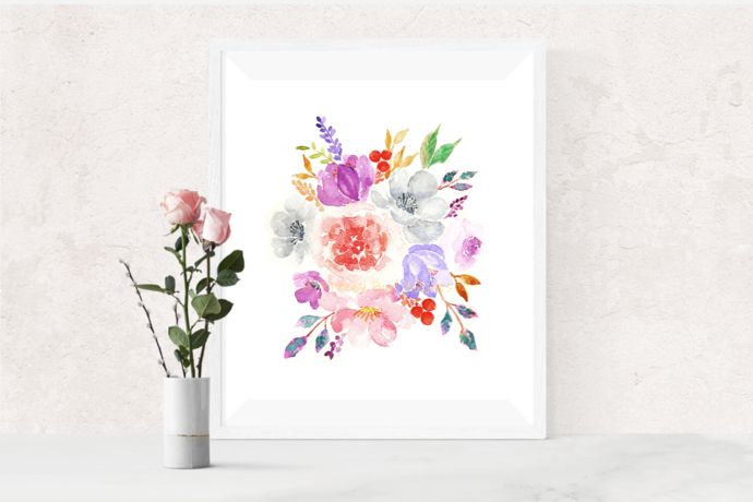 Autumn Flowers Print, Flower Bouquet Print, Watercolour Flowers, Art for Home,