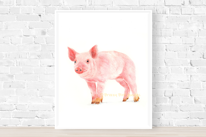 Cheerful Piggy Print