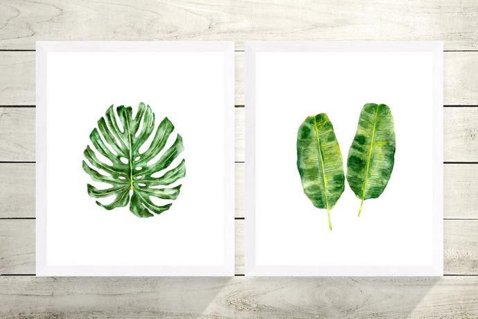Banana Leaf Print, Watercolour Banana Leaf, Coastal Plant Art, Beach House