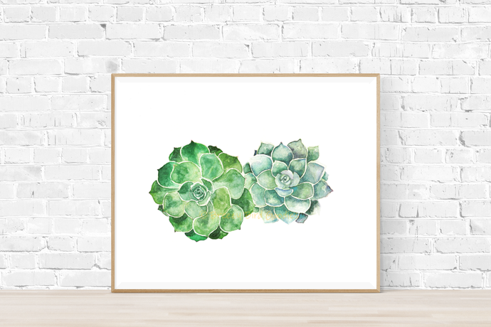 Succulents Print, Watercolour Succulents, Fat Plants Art, Botanical Art,