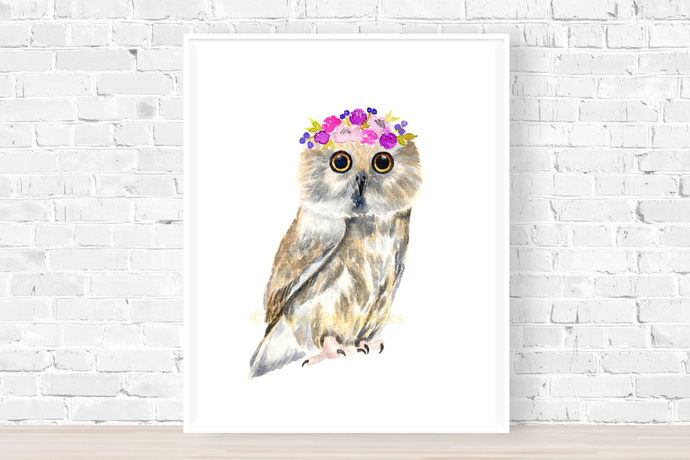 Saw Whet Owl with Flower Crown Print