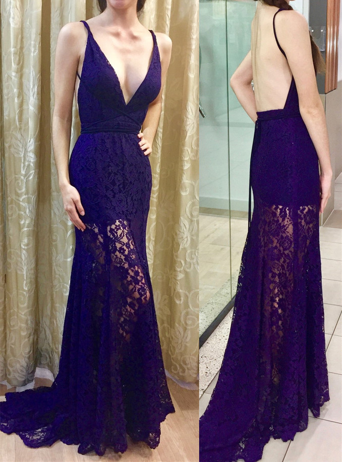 Charming Prom Dress,Lace Prom Gown,Mermaid Prom Dress,V-Neck Prom Gown