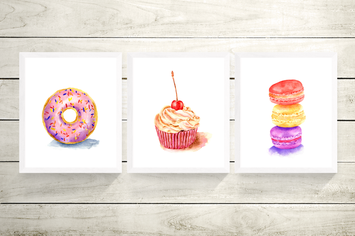 Dessert Set of 3 Prints, Watercolour Desserts, Food Print, Cafe and Bakery