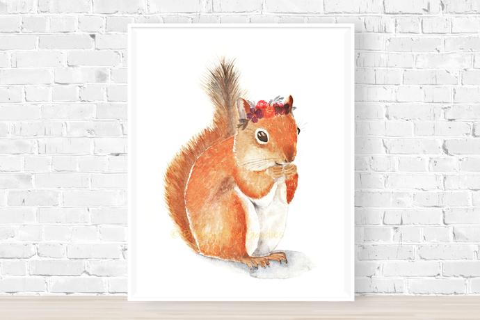 Happy Squirrel Print, Watercolor Squirrel, Animal with Flower, Woodland Nursery