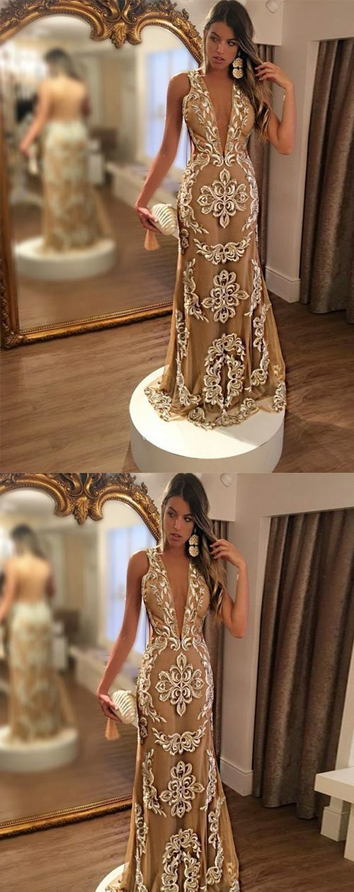 Mermaid Deep V-Neck Backless Sweep Train Champagne Tulle Prom Dress with Lace