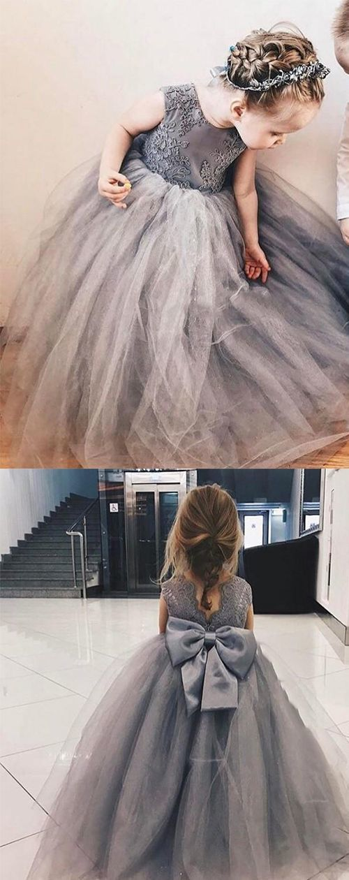 Ball Gown Jewel Grey Flower Girl Dress with Lace Bow
