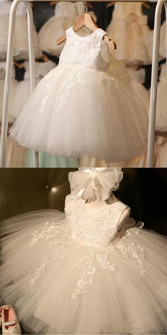 ivory Round Neck Lace Tulle Flower Girl Dresses, Zip up Cute Little Girl Dresses