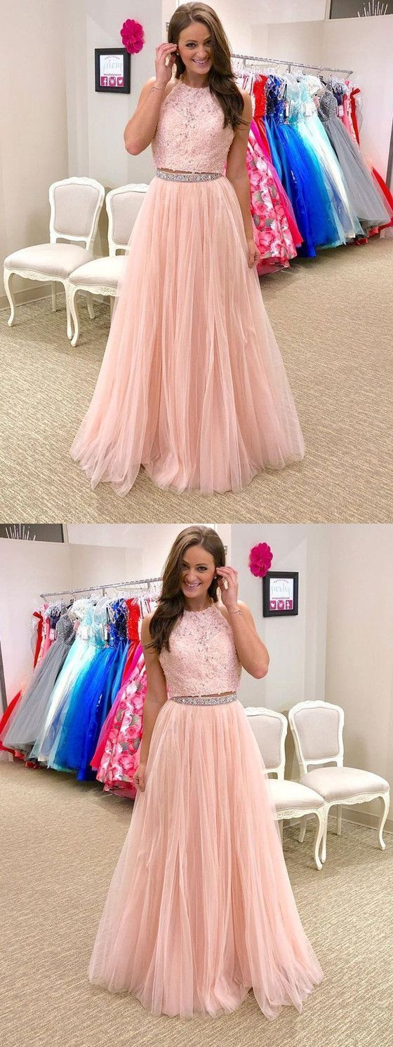 Sparkly A-line Floor-length Two Piece Halter Lace Top Beading Prom Dresses,