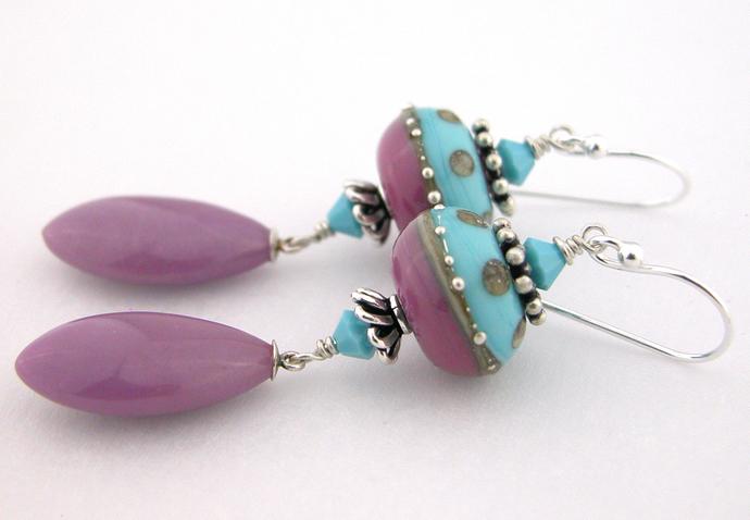 Porcelainberry Earrings - turquoise rosy lavendar drop phosphodiderite sterling