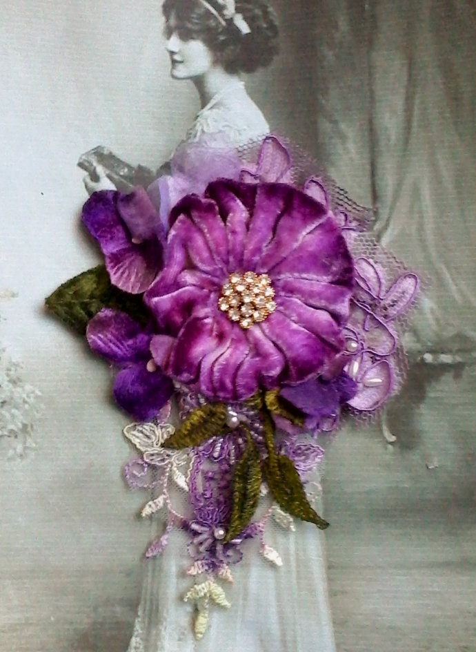 velvet shabby brooch, corsage, hair accessory, velvet flowers, wedding, vintage,