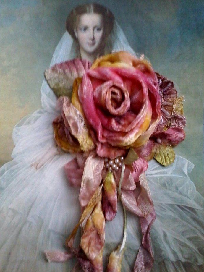 velvet rose shabby brooch, corsage, hair accessory, velvet flowers, boho,