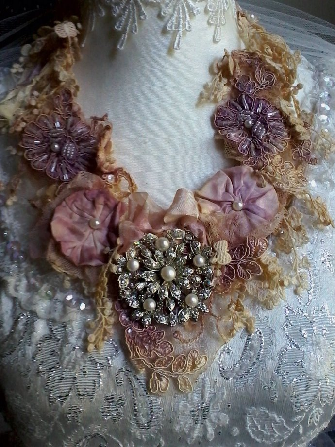 vintage inspired floral necklace, silk and lace necklace, bridal necklace, fairy