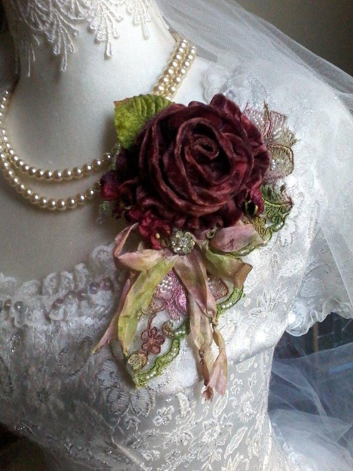 wine  velvet rose shabby brooch, hair barrette, velvet flowers, gypsy boho,