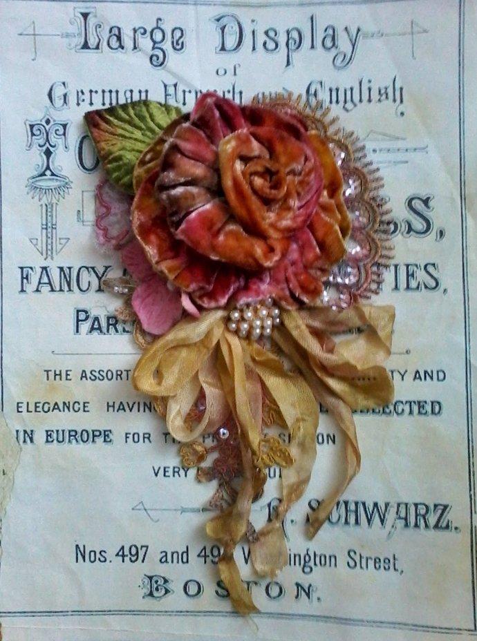 autumn velvet rose shabby brooch, hair barrette, velvet flowers, gypsy boho,