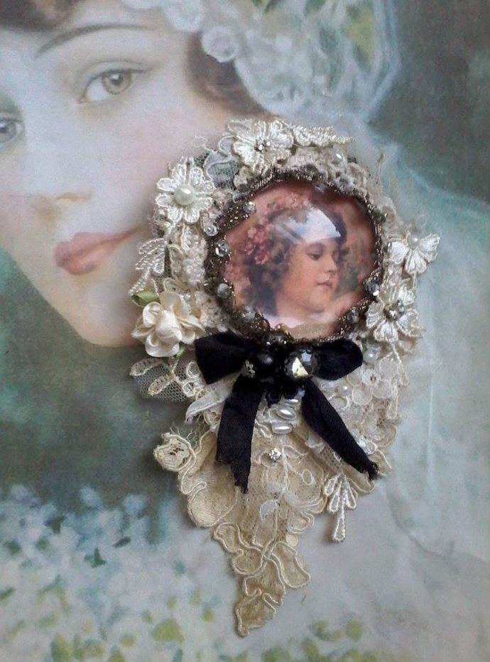 baroque angel brooch, lace portrait brooch, angel cabochon brooch, whimsical