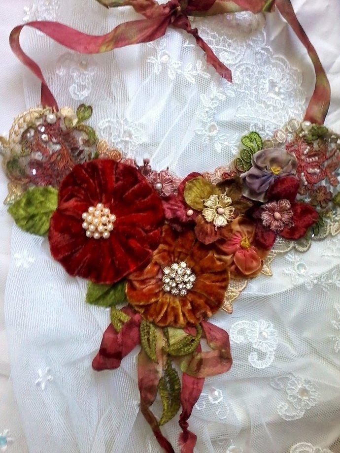 velvet floral necklace, gypsy rose bib necklace,  velvet woodland necklace,