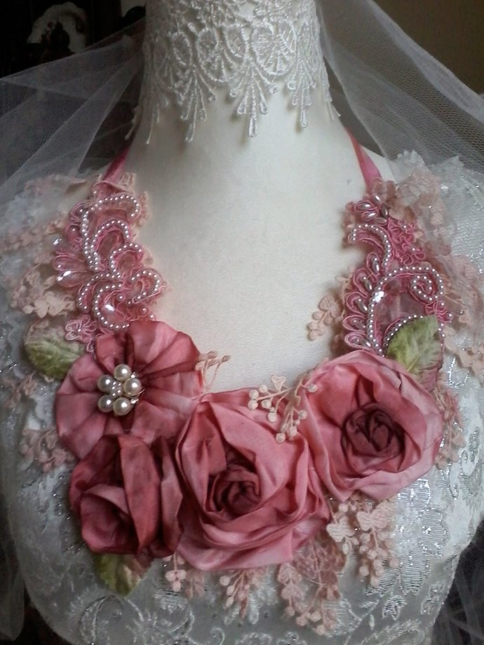 whimsical silk floral necklace, shabby chic fairy, tattered woodland necklace,