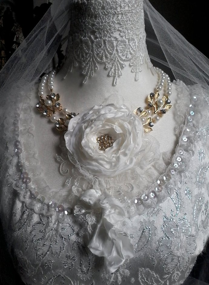 pearl bridal necklace, silk rose and pearls necklace, romantic fairy princess,