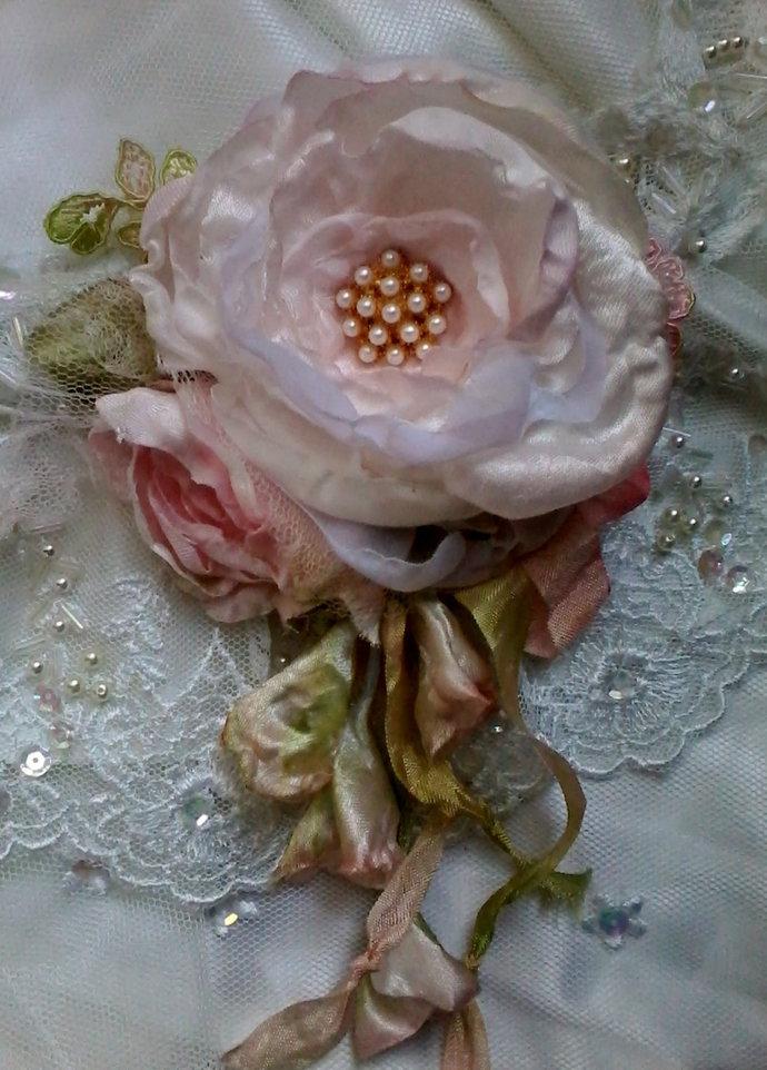 large tattered pink shabby chic rose booch, whimsical hair flower, wedding
