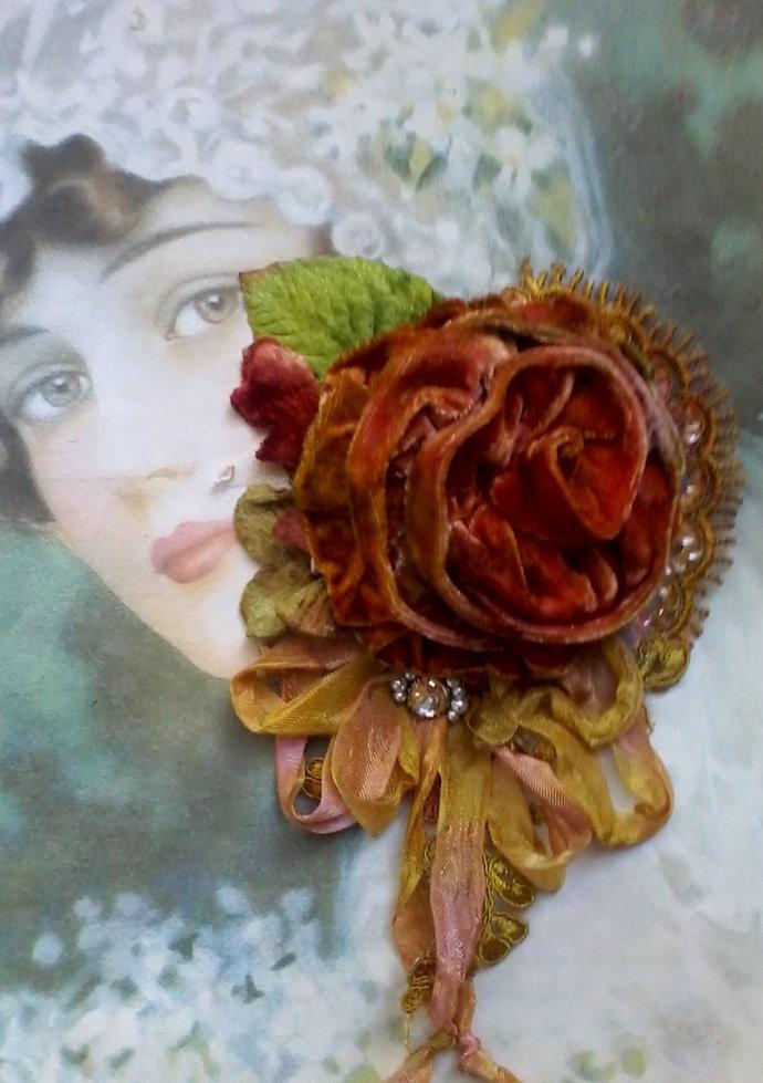 autumn velvet rose shabby brooch, hair accessory, velvet flowers, boho,