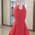 Cap Sleeve White Appliques Lace Mermaid Evening Dress, Red Long Prom Dress