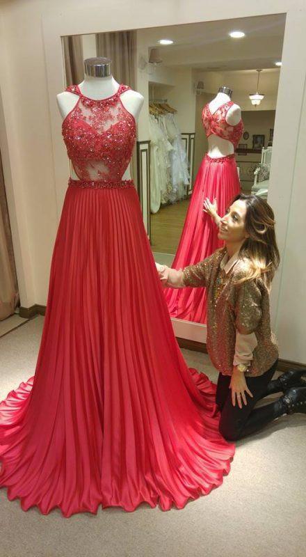 A-line Beaded Long Prom Dress, Wedding Party Dress, Fashion Evening Dresses