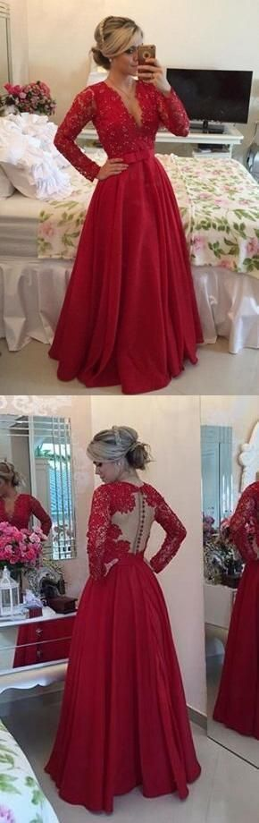 Custom Made Red Long Sleeve Evening Dress, A Line Prom Dress with Appliques and