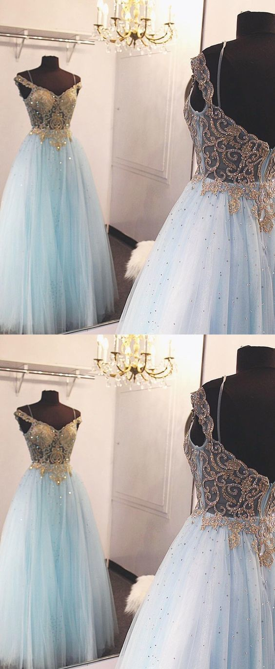 Tulle Blue Evening Dress, Sexy Beaded Long Prom Dress, Pretty Dance Dress