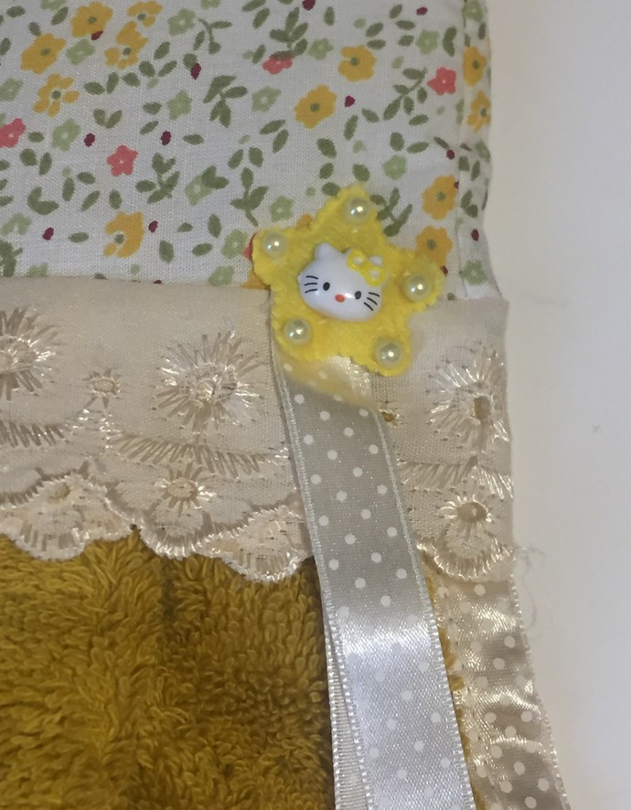 Hello Kitty Mustard Decorated Hand Towels