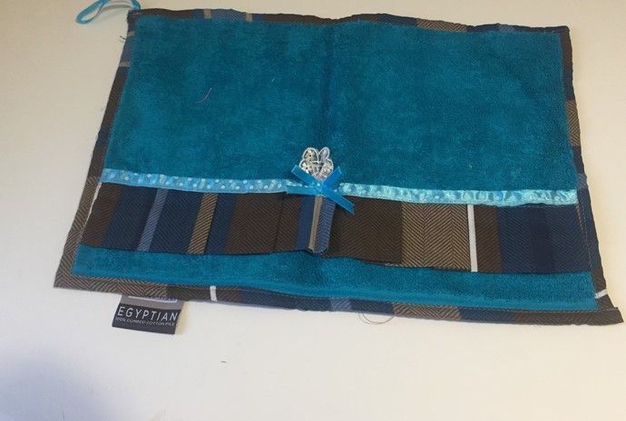 Turquoise and Brown Decorated Hand Towels